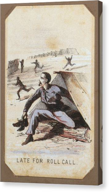 The Civil War, Life In Camp, Late For Canvas Print by Everett