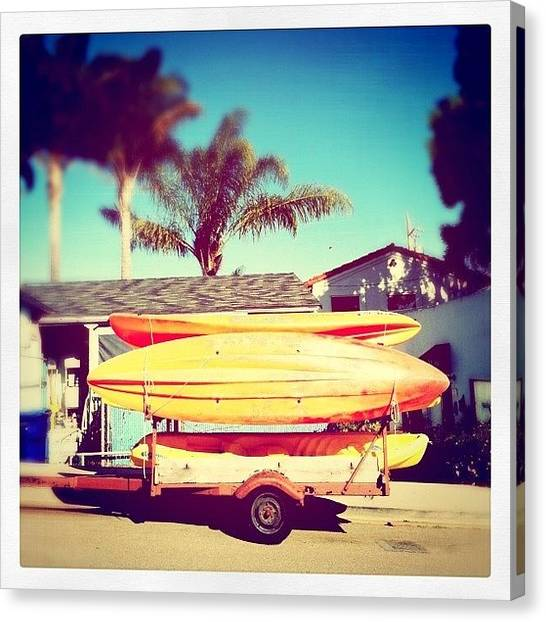 Kayaks Canvas Print - The Color Of California by Kim Hudson