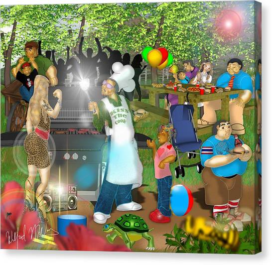 Cookout Canvas Print - The Cookout   by Wilfred Mellers