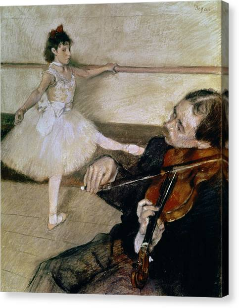 Violins Canvas Print - The Dance Lesson by Edgar Degas