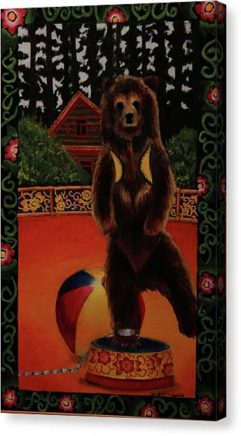 The Dancing Bear Is Far From Home Canvas Print by Anzhelika Lychik