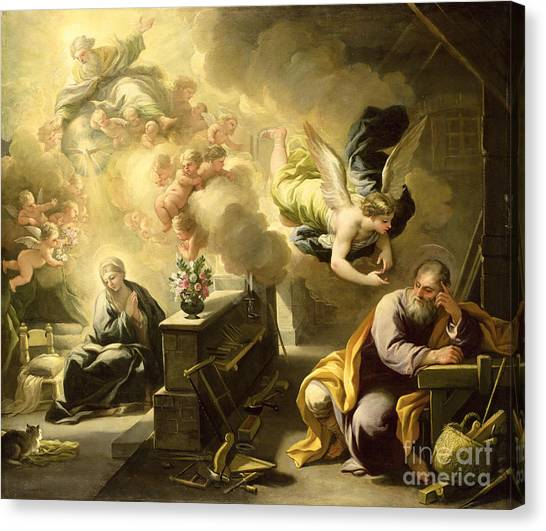 Baroque Art Canvas Print - The Dream Of Saint Joseph by Luca Giordano
