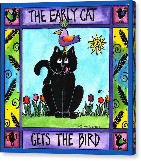 The Early Cat Gets The Bird Canvas Print by Pamela  Corwin