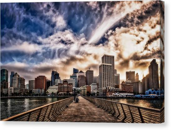 The Embarcadero On The Waterfront At Sunset Canvas Print