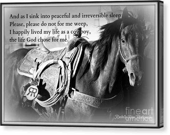 The Empty Saddle Canvas Print by Rachelle Rice