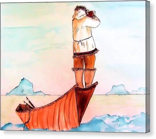The Eskimo Hunter Canvas Print by Alethea M