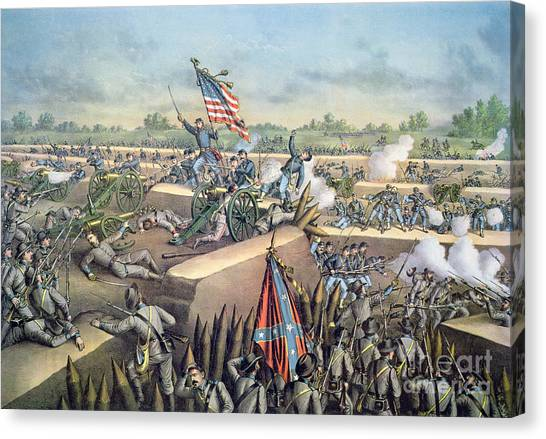 Confederate Army Canvas Print - The Fall Of Petersburg To The Union Army 2nd April 1965 by American School