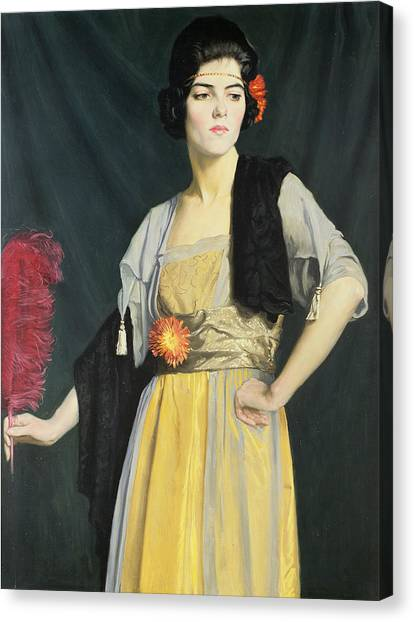 Ostriches Canvas Print - The Feather Fan  by William Strang
