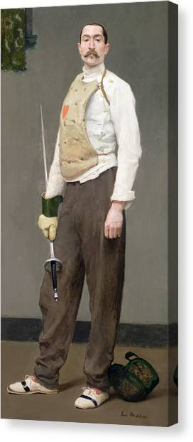 1900 Canvas Print - The Fencing Master by Julius Gari Melchers