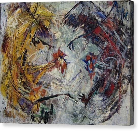 Jewish Painter Canvas Print - The Fight by Naftali Salomon