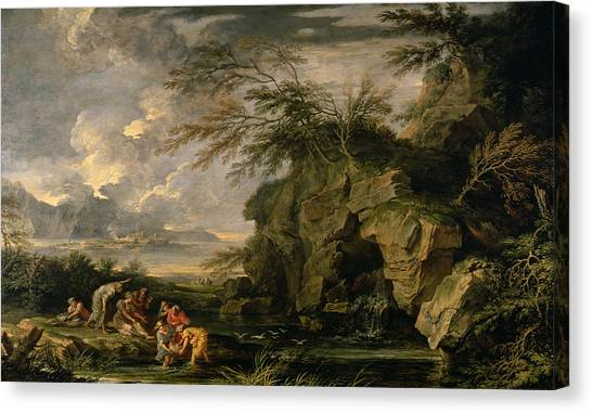 The Nile Canvas Print - The Finding Of Moses by Salvator Rosa