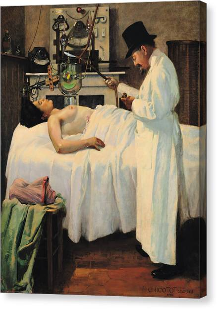 Unconscious Canvas Print - The First Attempt To Treat Cancer With X Rays by Georges Chicotot