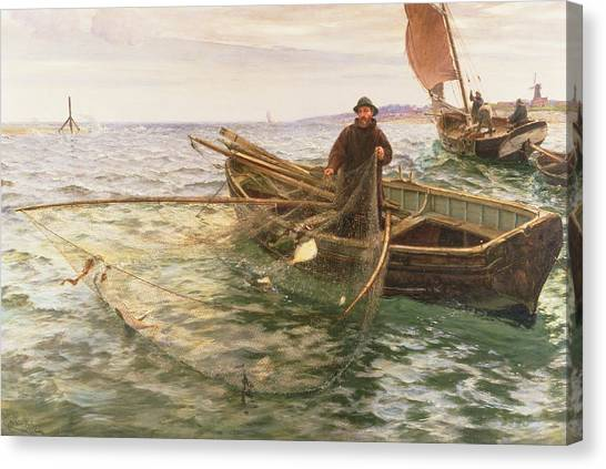 Netting Canvas Print - The Fisherman by Charles Napier Hemy