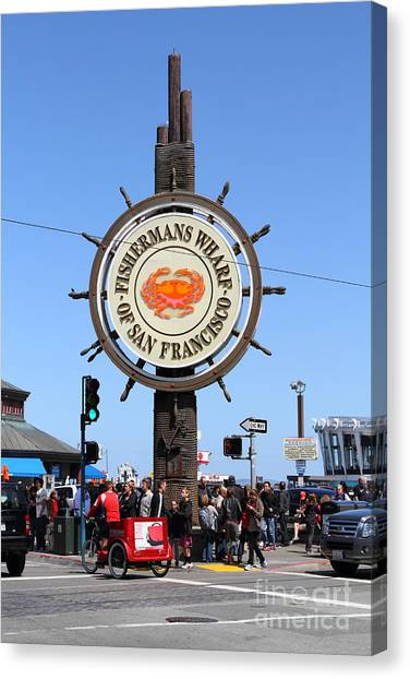 The Fishermans Wharf Sign . San Francisco California . 7d14225 Canvas Print by Wingsdomain Art and Photography