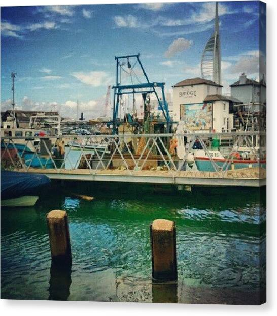 Fishing Boats Canvas Print - The Fishing Ships Of Portsmouth by Aimee White