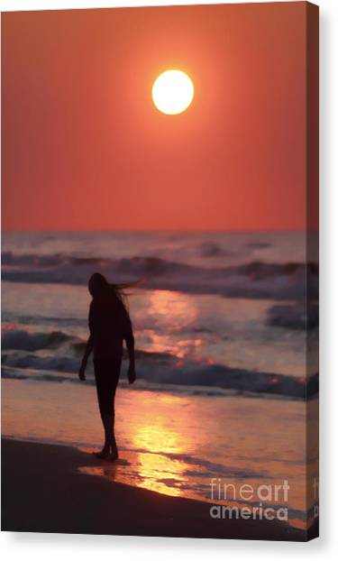 The Girl On The Beach Canvas Print