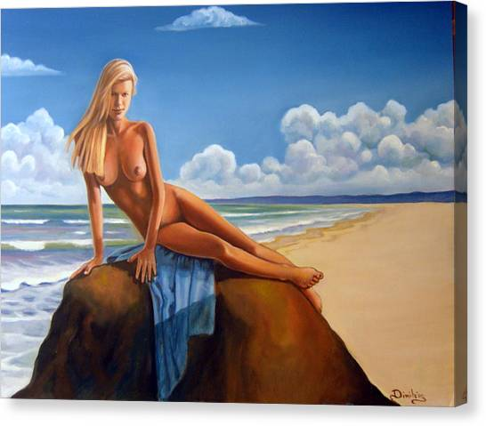The Girl On The Rock Canvas Print by Jim Papas
