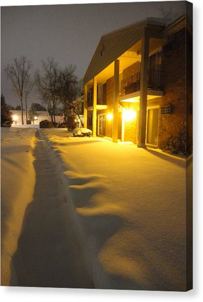 The Glow Of Golden Snow Canvas Print by Guy Ricketts