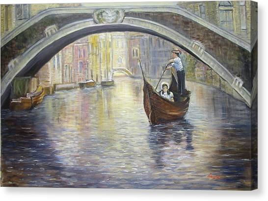 The Gondolier Venice Italy Canvas Print