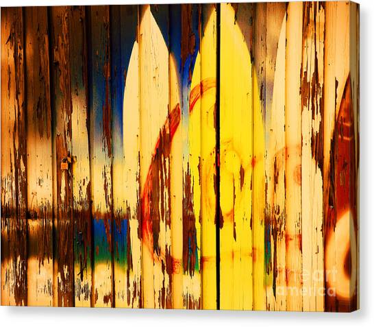 Surfboard Fence Canvas Print - The Good Old Days Of Surfing by Susanne Van Hulst