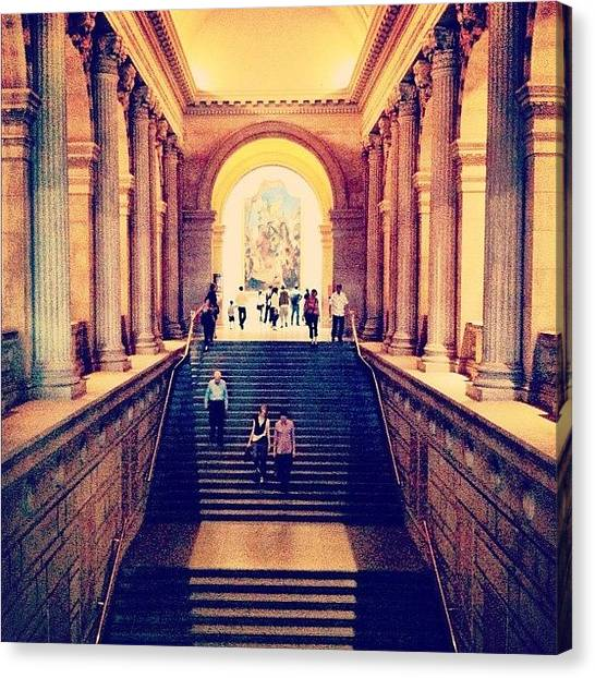 Humans Canvas Print - The Grand Staircase In The Met. #nyc by Luke Kingma