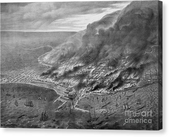 Chicago Fire Canvas Print - The Great Chicago Fire, 1871 by Photo Researchers