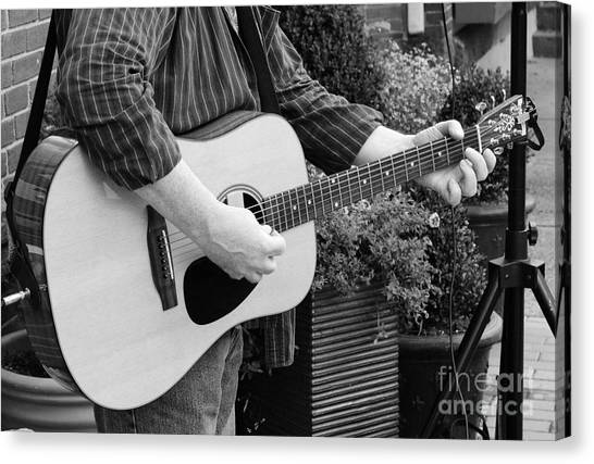 Guitar Picks Canvas Print - The Guitar Player In Black And White by Paul Ward