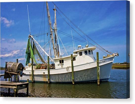 Shrimp Boats Canvas Print - The Harbor by Betsy Knapp