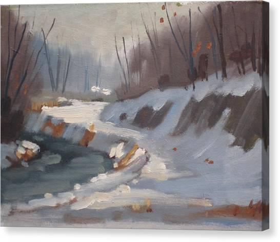 Snow Bank Canvas Print - The Housatonic In Winter by Len Stomski
