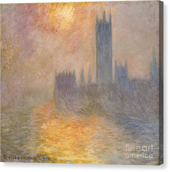 Parliament Canvas Print - The Houses Of Parliament At Sunset by Claude Monet