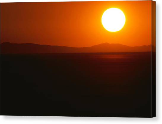 Black Rock Desert Canvas Print - The Huge Disc Of The Rising Sun Hovers by James P. Blair