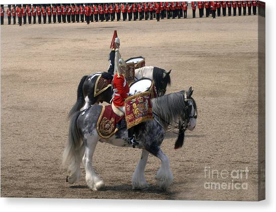 Royal Guard Canvas Print - The Kettledrums Of Household Cavalry by Andrew Chittock