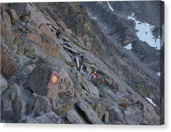 The Ledges On Longs Peak Canvas Print by Cynthia Cox Cottam
