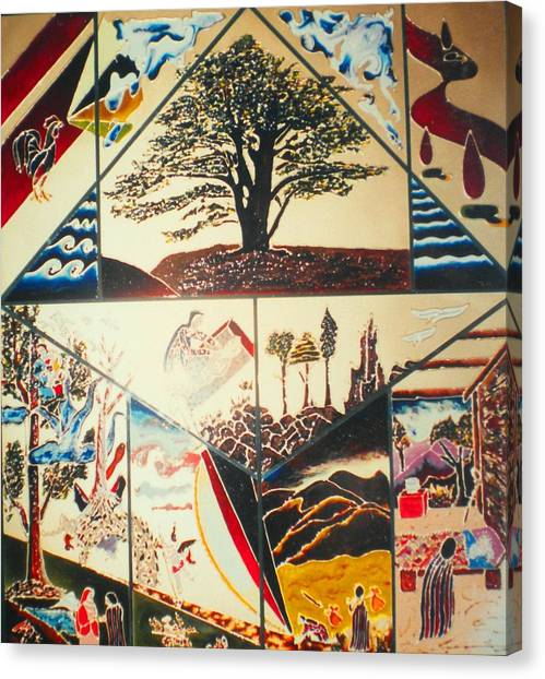 Canvas Print featuring the painting The Legend Of The Cedar Tree by Ray Khalife