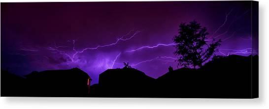 The Lightning Over Avery Neighborhood Canvas Print