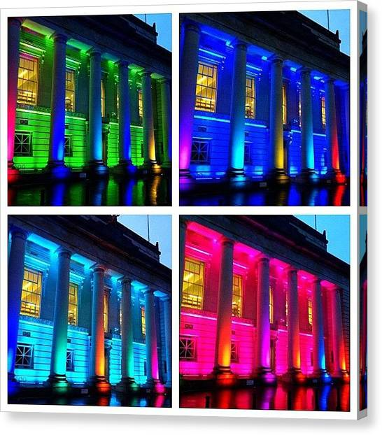 Libraries Canvas Print - The Lights Outside One Of The Cardiff by Elbashir Idris