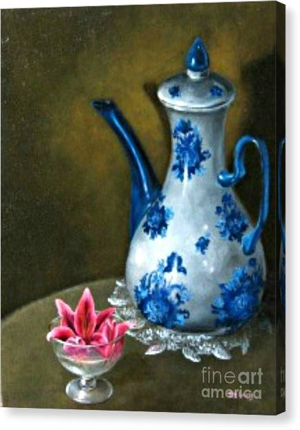 The Lily And The Coffe Pot Canvas Print by Patricia Lang