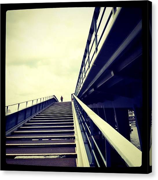 Roads Canvas Print - The Lone Pedestrian. #bridge by Robbert Ter Weijden