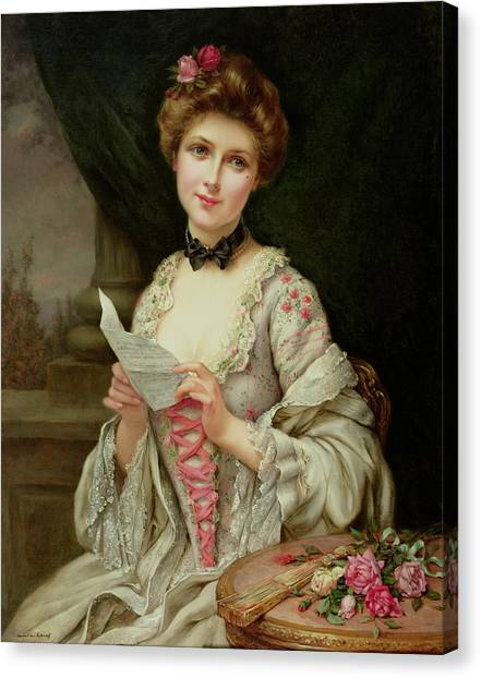 Beauty Mark Canvas Print - The Love Letter by Francois Martin-Kayel