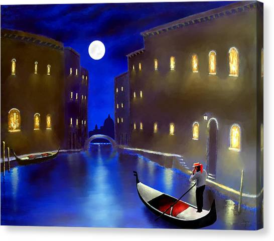 The Magic Nights Of Venice Lights  Canvas Print