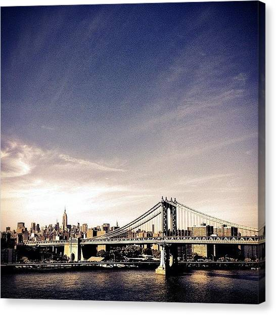 Skyline Canvas Print - The Manhattan Bridge And New York City Skyline by Vivienne Gucwa