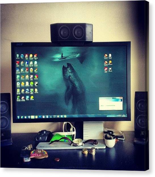 Speakers Canvas Print - The #messy #desk Of #power . #love #my by Craig Dyson