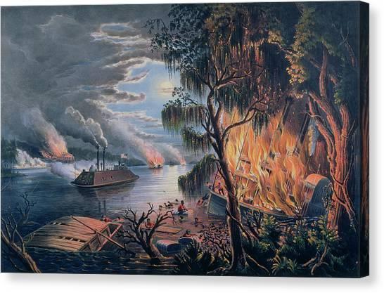 Mississippi River Canvas Print - The Mississippi In Time Of War by Frances Flora Bond Palmer