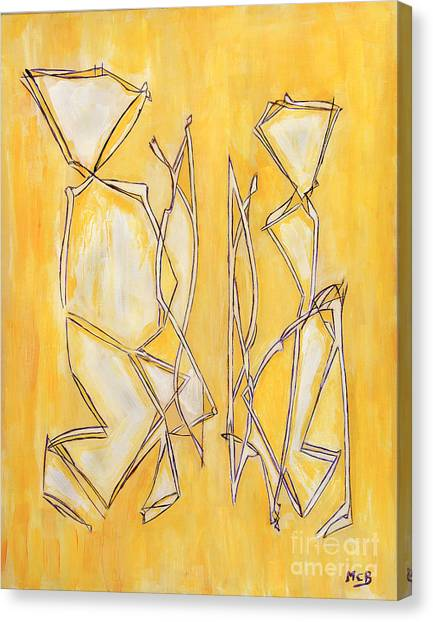Unique Abstract Art Giclee Canvas Print Original Painting The Couple Decorator Line Art Yellow White Canvas Print by Marie Christine Belkadi