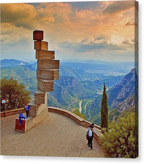 Beautiful Girl Canvas Print - The Montserrat Mountain Natural Park Is by Tommy Tjahjono