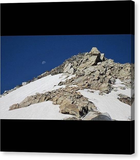 Wyoming Canvas Print - The #moon And The #summit Of by Niels Rasmussen