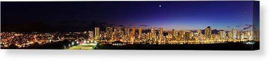 The Moon And Venus Over Honolulu Canvas Print