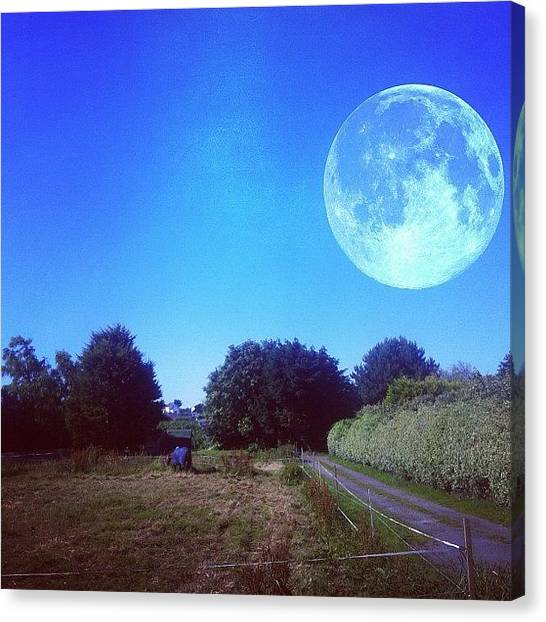Big Sky Canvas Print - The Moon Seems Rather Close Today? Lol by Andy Brown