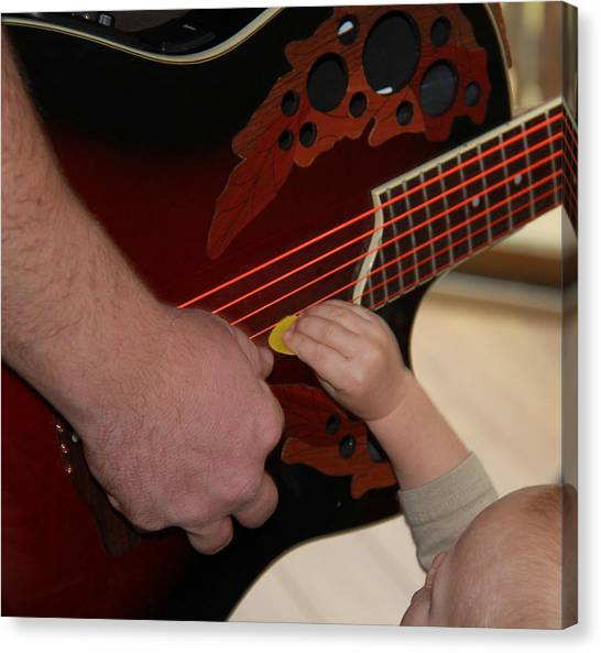 Guitar Picks Canvas Print - The Music Lesson by John G Schickler