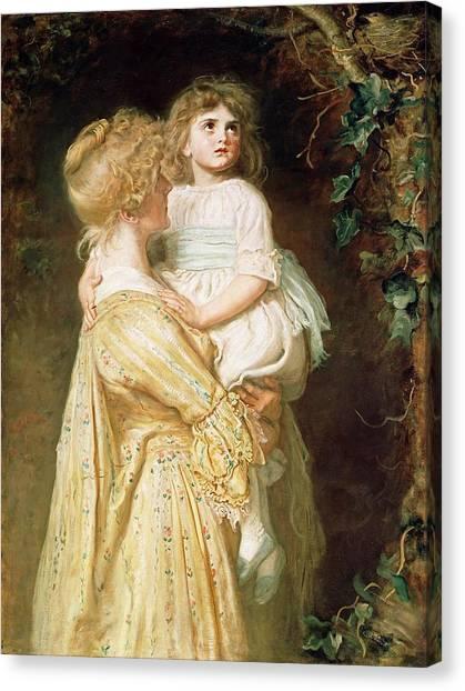 Victorian Garden Canvas Print - The Nest by Sir John Everett Millais